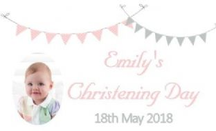 Pink Grey Bunting Photo Christening Chocolate Candy Bar Wrapper